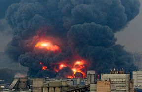big fire with smoke