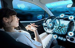 person in self driving car