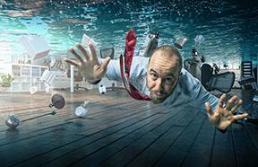 business man under water