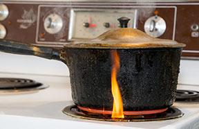 pot burning on stove